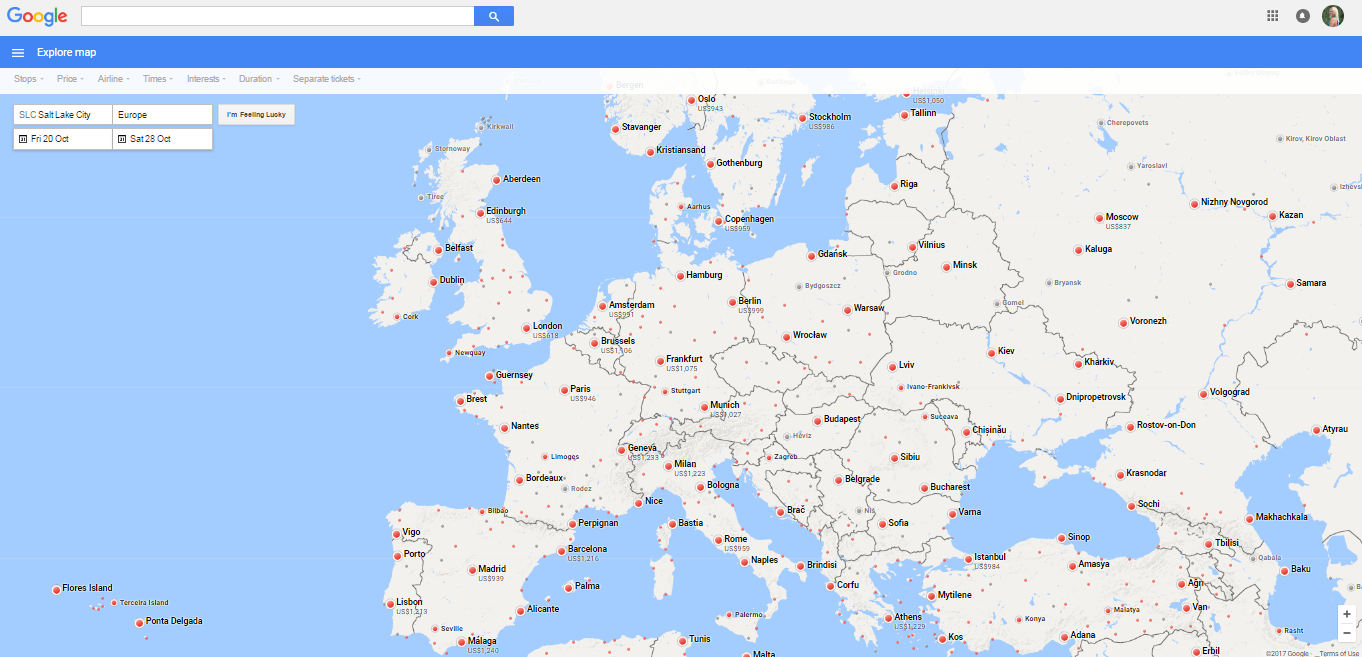 google-flights-europe-map
