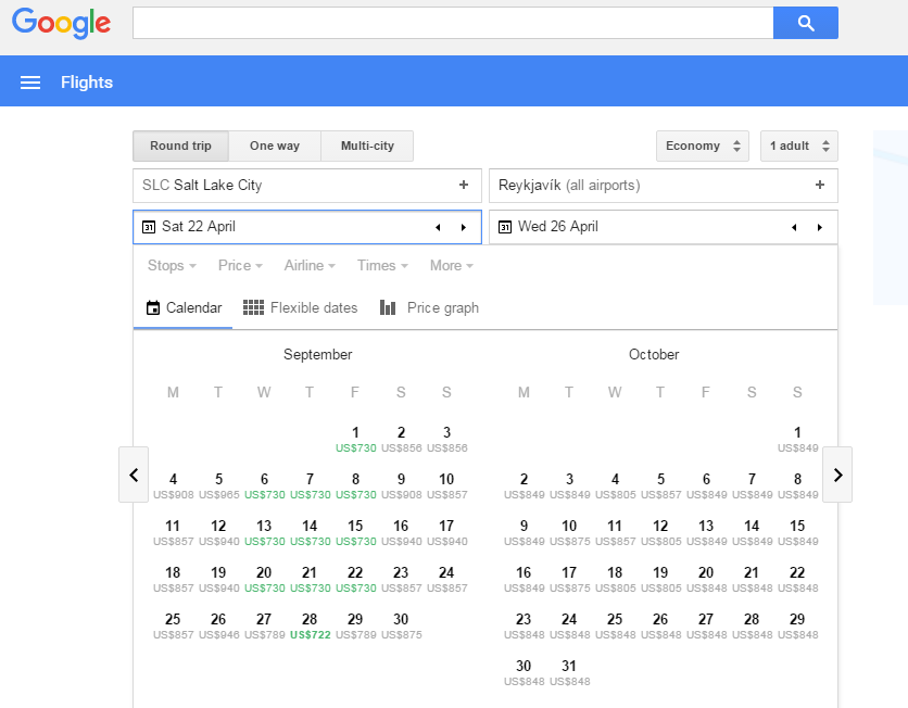 Using the calendar feature on Google Flights.