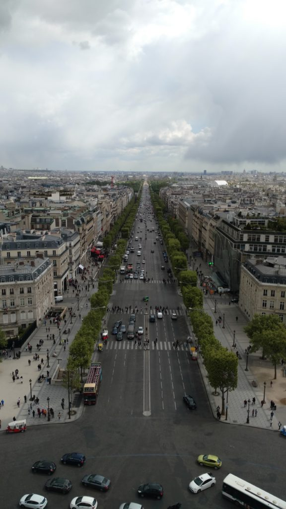 View from the Arc de Triomphe of the Champs-Élysées